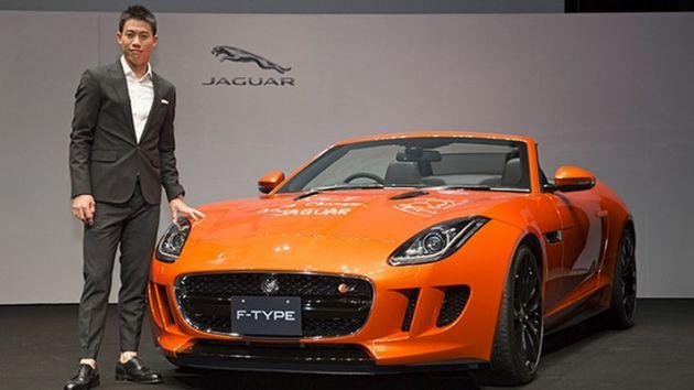 Luxury cars endorsed advertised promoted driven by tennis male female players sports sponsors list Kei Nishikori - Jaguar