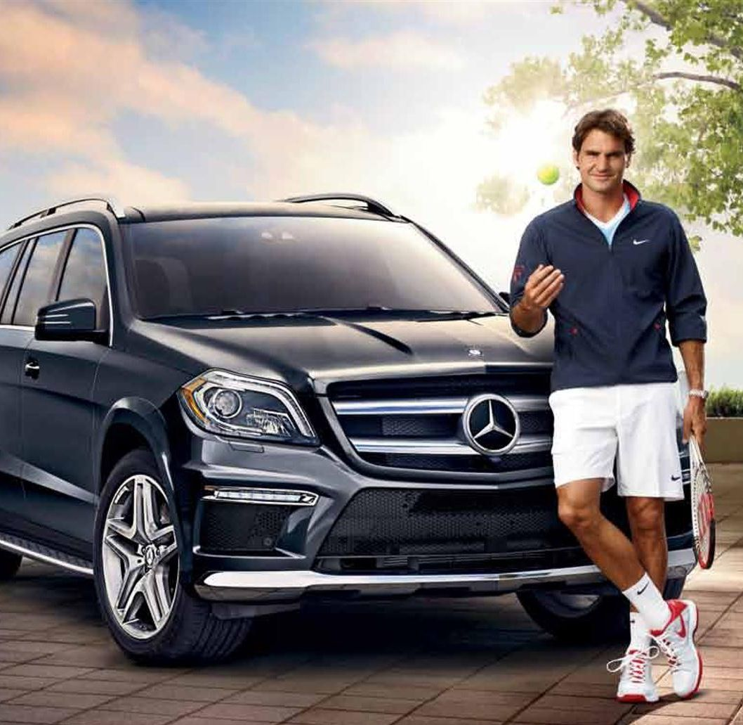 Luxury cars endorsed advertised promoted driven by tennis male female players sports sponsors list Roger Federer Mercedes