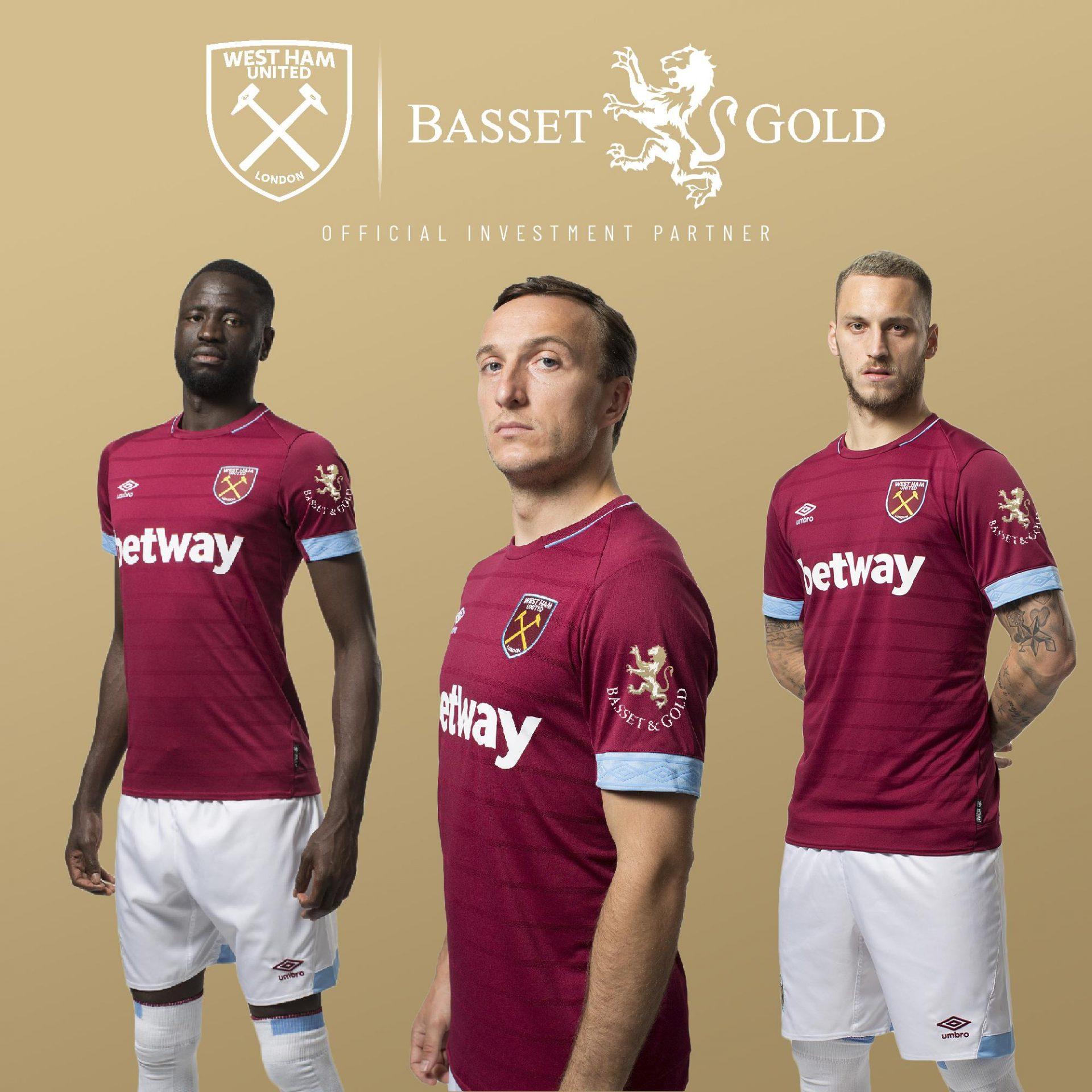 West Ham United Bassels and Gold Shirt Sleeve Sponsor Logo Brand Premier League Football Clubs