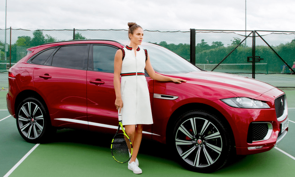 Luxury cars endorsed advertised promoted driven by tennis male female players sports sponsors list Johanna Konta Jaguar