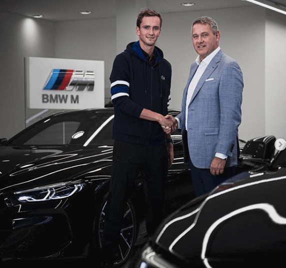Luxury cars endorsed advertised promoted driven by tennis male female players sports sponsors list Daniil Medvedev